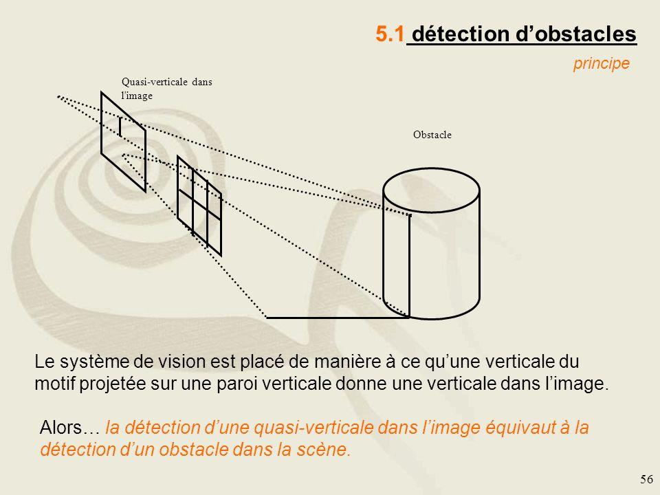 56 5.1 détection dobstacles Quasi-verticale dans l'image Obstacle principe Le système de vision est placé de manière à ce quune verticale du motif pro