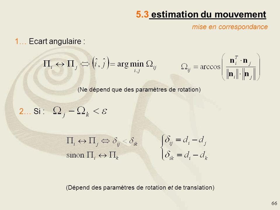 66 mise en correspondance 5.3 estimation du mouvement 1… Ecart angulaire : 2… Si : (Ne dépend que des paramètres de rotation) (Dépend des paramètres d