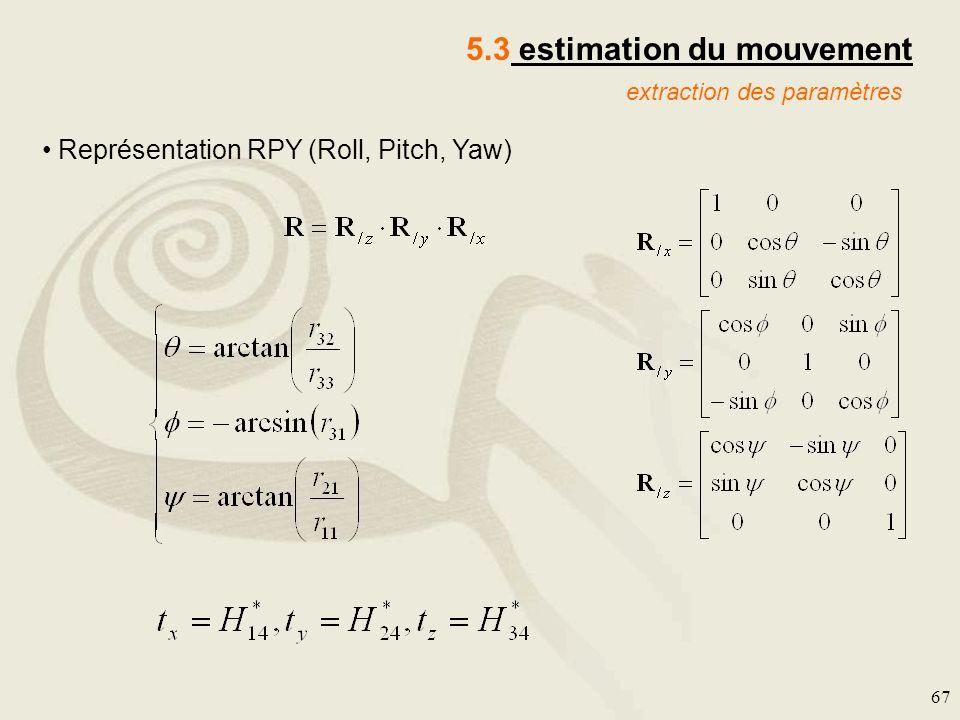 67 extraction des paramètres 5.3 estimation du mouvement Représentation RPY (Roll, Pitch, Yaw)