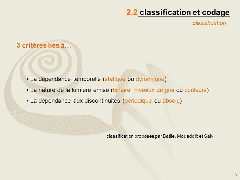 7 2.2 classification et codage classification La dépendance temporelle (statique ou dynamique) La nature de la lumière émise (binaire, niveaux de gris