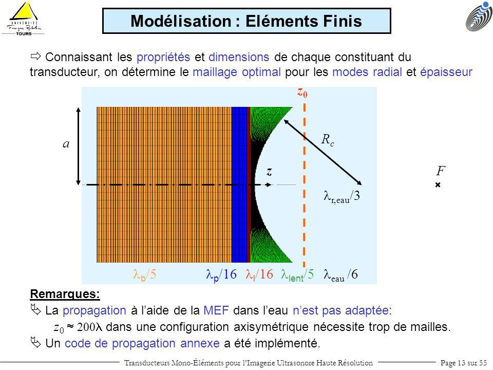 z b /5 p /16 l /16 lent /5 r,eau /3 eau /6 Remarques: La propagation à laide de la MEF dans leau nest pas adaptée: z 0 200 dans une configuration axis