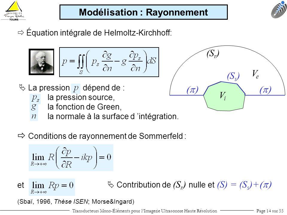 ViVi VeVe (S r ) (S s ) (Sbaï, 1996, Thèse ISEN; Morse&Ingard) Transducteurs Mono-Éléments pour lImagerie Ultrasonore Haute RésolutionPage 14 sur 55 M