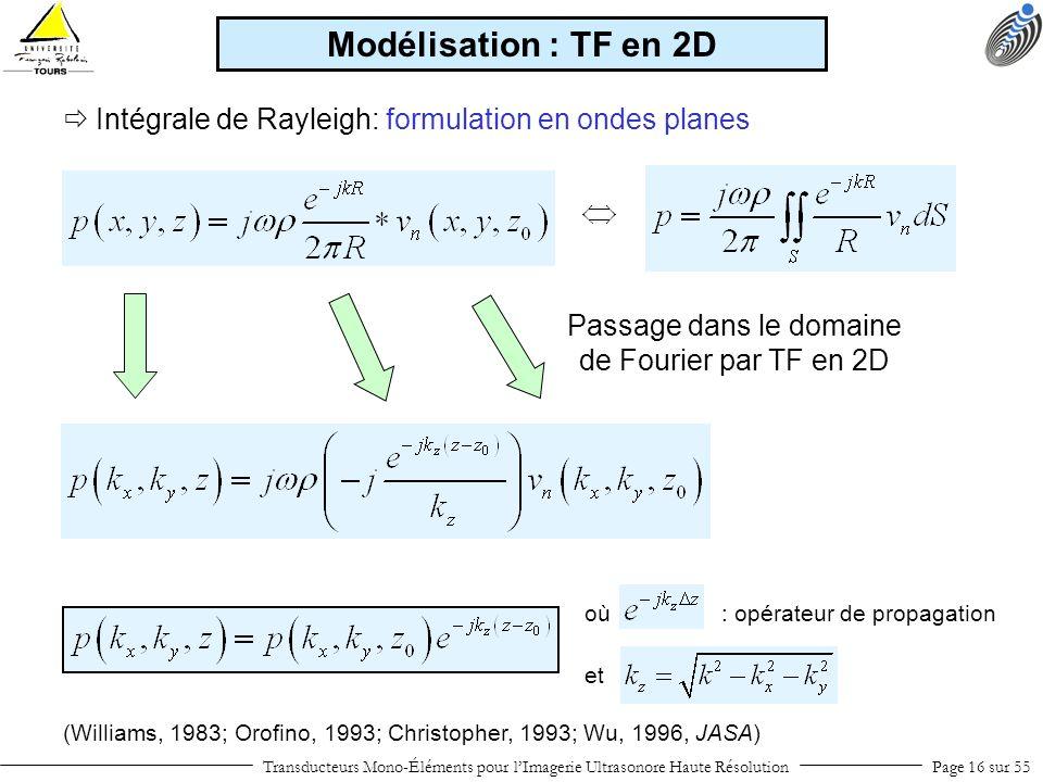 (Williams, 1983; Orofino, 1993; Christopher, 1993; Wu, 1996, JASA) Intégrale de Rayleigh: formulation en ondes planes Passage dans le domaine de Fouri