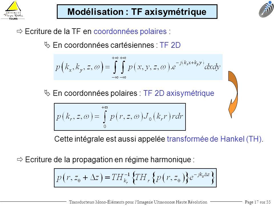 Transducteurs Mono-Éléments pour lImagerie Ultrasonore Haute RésolutionPage 17 sur 55 Modélisation : TF axisymétrique Cette intégrale est aussi appelé