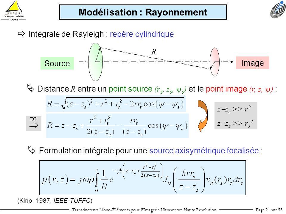 Intégrale de Rayleigh : repère cylindrique (Kino, 1987, IEEE-TUFFC) Distance R entre un point source (r s, z s, s ) et le point image (r, z, ) : DL Tr