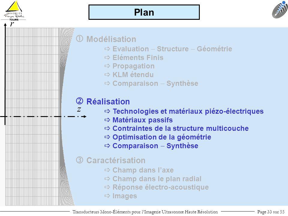 Modélisation Evaluation Structure Géométrie Eléments Finis Propagation KLM étendu Comparaison Synthèse Réalisation Technologies et matériaux piézo-éle
