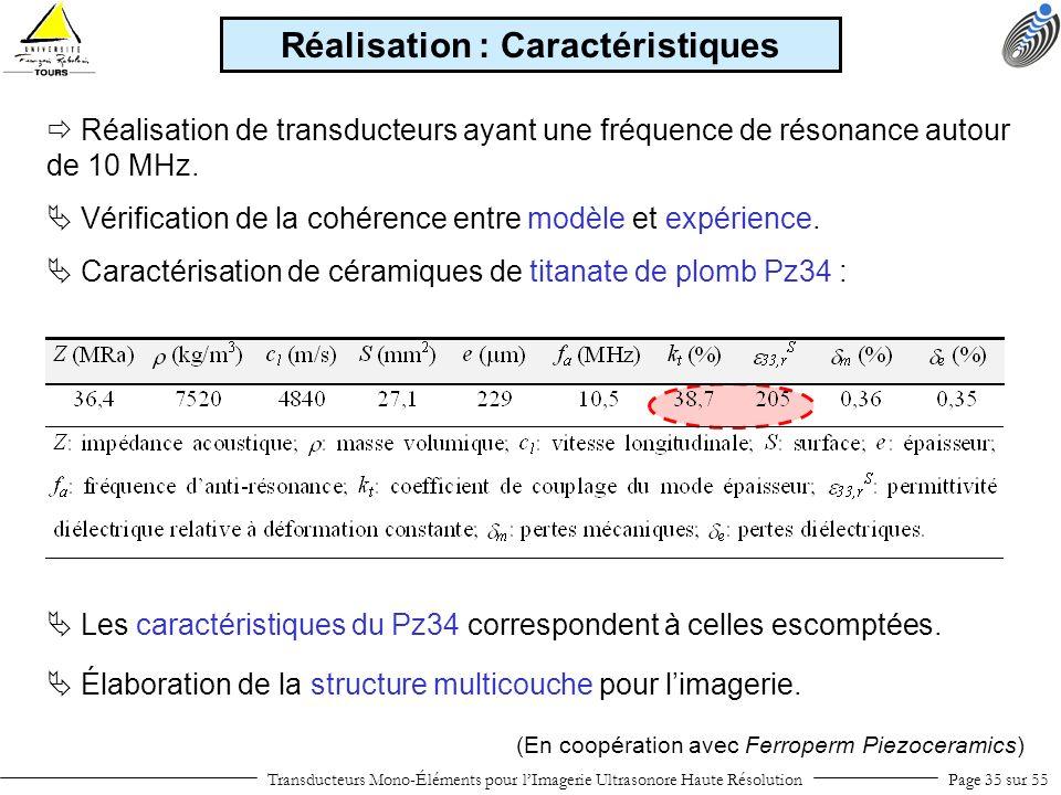 Transducteurs Mono-Éléments pour lImagerie Ultrasonore Haute RésolutionPage 35 sur 55 Caractérisation de céramiques de titanate de plomb Pz34 : Réalis