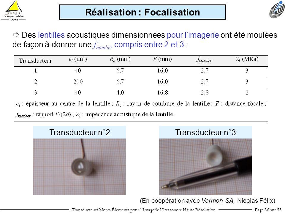 Transducteurs Mono-Éléments pour lImagerie Ultrasonore Haute RésolutionPage 36 sur 55 Des lentilles acoustiques dimensionnées pour limagerie ont été m