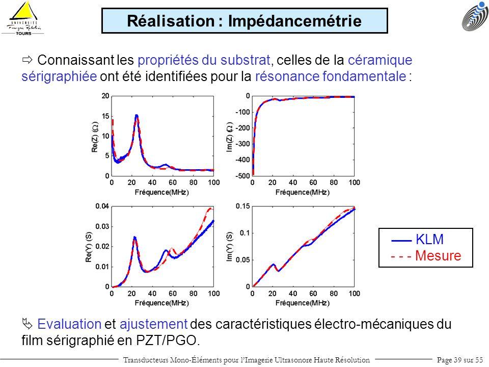 Transducteurs Mono-Éléments pour lImagerie Ultrasonore Haute RésolutionPage 39 sur 55 Connaissant les propriétés du substrat, celles de la céramique s