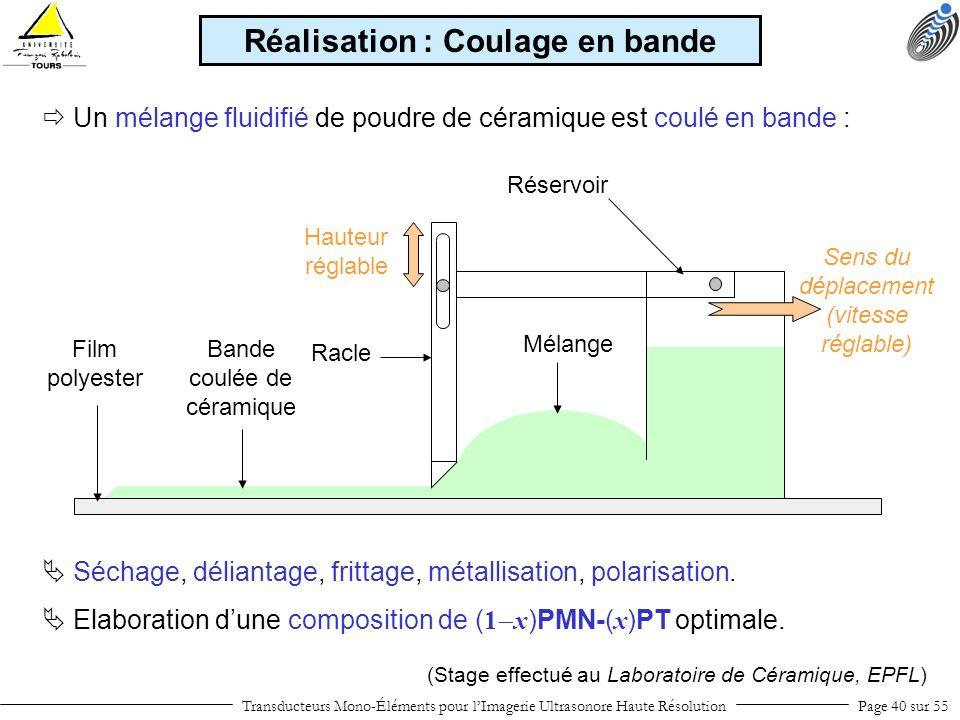 Transducteurs Mono-Éléments pour lImagerie Ultrasonore Haute RésolutionPage 40 sur 55 Un mélange fluidifié de poudre de céramique est coulé en bande :