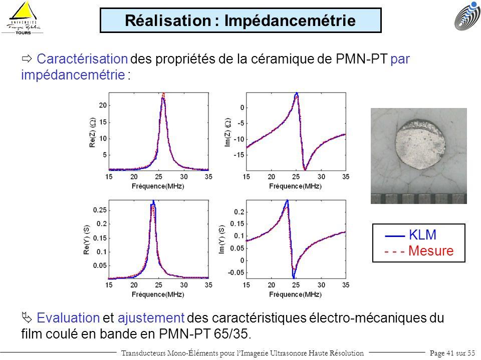 Transducteurs Mono-Éléments pour lImagerie Ultrasonore Haute RésolutionPage 41 sur 55 Caractérisation des propriétés de la céramique de PMN-PT par imp