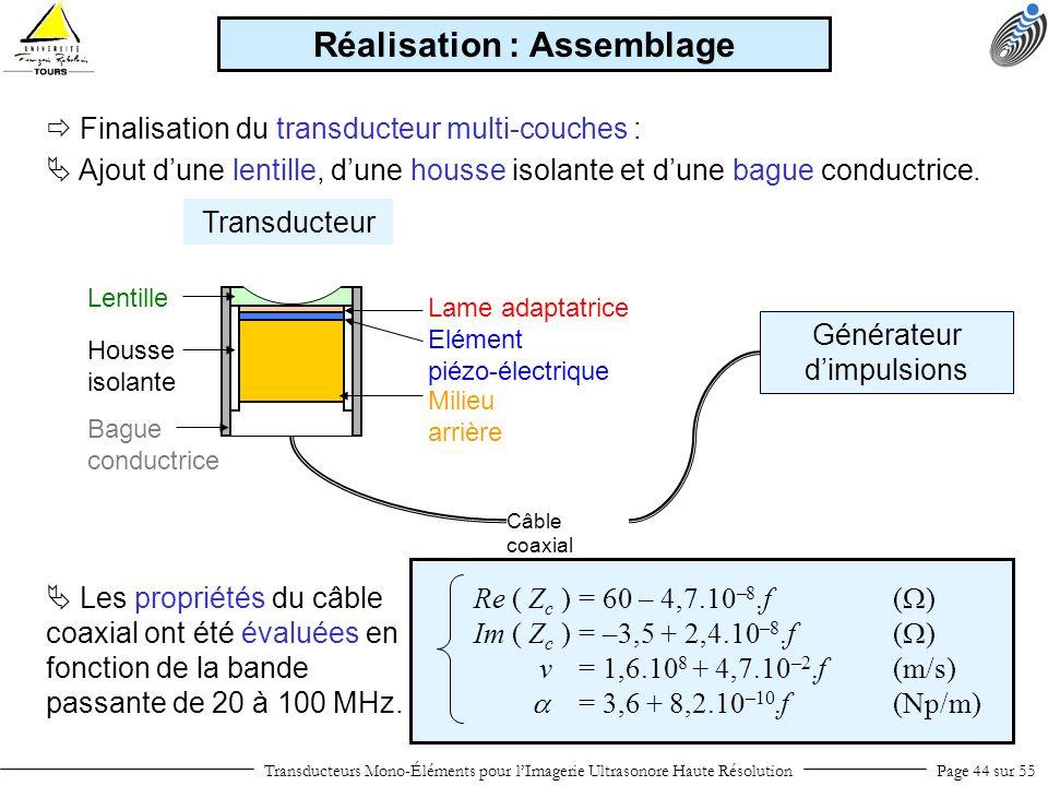 Elément piézo-électrique Milieu arrière Housse isolante Bague conductrice Lame adaptatrice Lentille Transducteurs Mono-Éléments pour lImagerie Ultraso