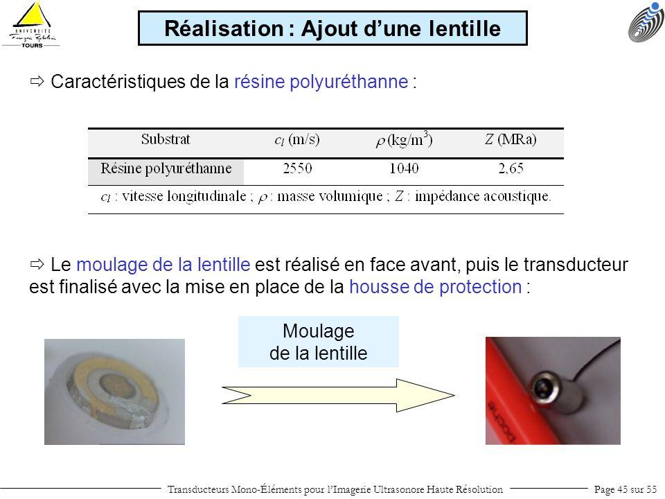 Transducteurs Mono-Éléments pour lImagerie Ultrasonore Haute RésolutionPage 45 sur 55 Caractéristiques de la résine polyuréthanne : Réalisation : Ajou