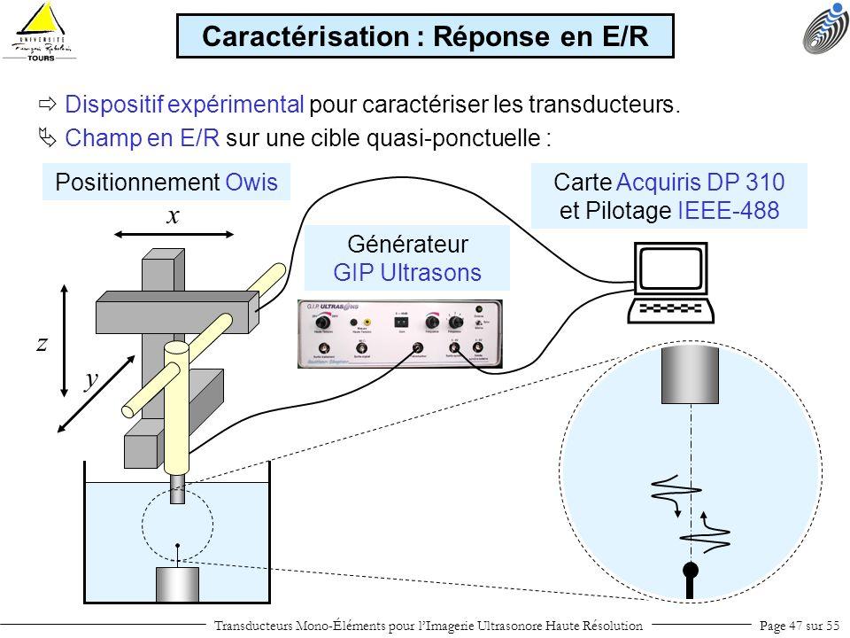 Positionnement Owis Transducteurs Mono-Éléments pour lImagerie Ultrasonore Haute RésolutionPage 47 sur 55 Dispositif expérimental pour caractériser le