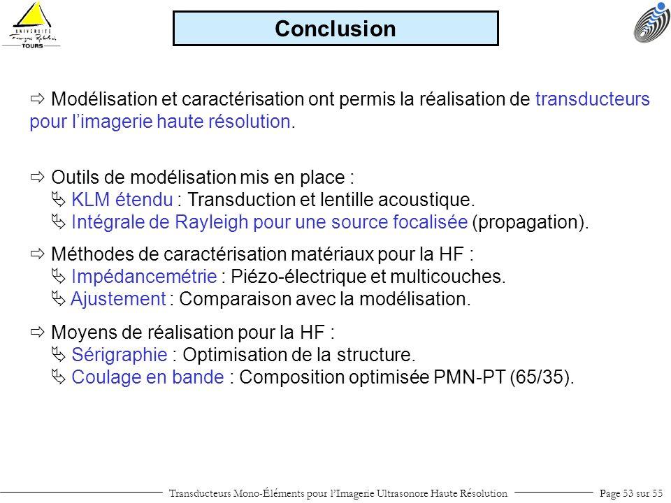 Transducteurs Mono-Éléments pour lImagerie Ultrasonore Haute RésolutionPage 53 sur 55 Conclusion Modélisation et caractérisation ont permis la réalisa