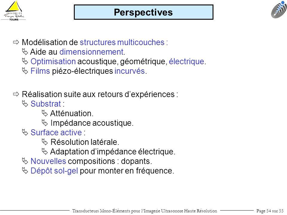 Transducteurs Mono-Éléments pour lImagerie Ultrasonore Haute RésolutionPage 54 sur 55 Perspectives Modélisation de structures multicouches : Aide au d