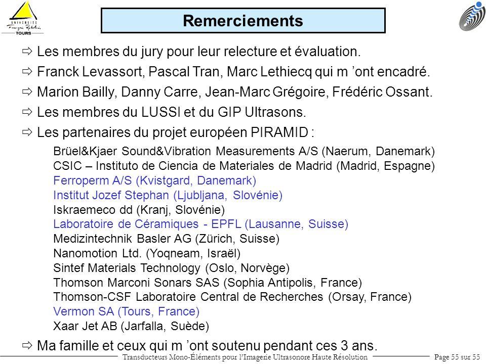 Transducteurs Mono-Éléments pour lImagerie Ultrasonore Haute RésolutionPage 55 sur 55 Franck Levassort, Pascal Tran, Marc Lethiecq qui m ont encadré.