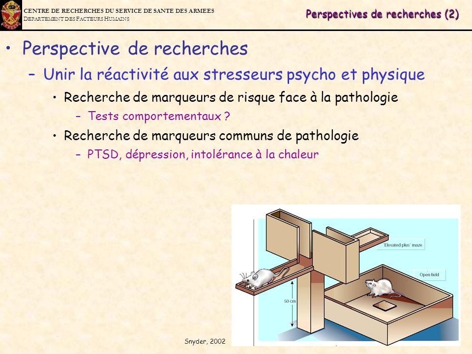 C ENTRE DE R ECHERCHES DU S ERVICE DE S ANTE DES A RMEES D EPARTEMENT DES F ACTEURS H UMAINS Perspectives de recherches (2) Perspective de recherches