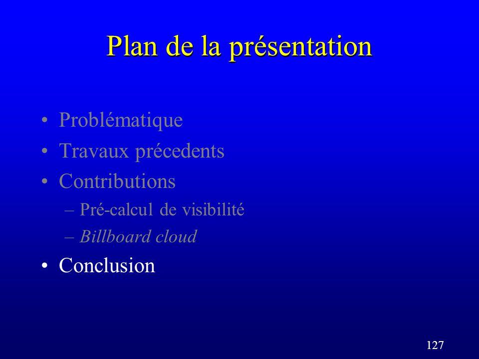 127 Plan de la présentation Problématique Travaux précedents Contributions –Pré-calcul de visibilité –Billboard cloud Conclusion