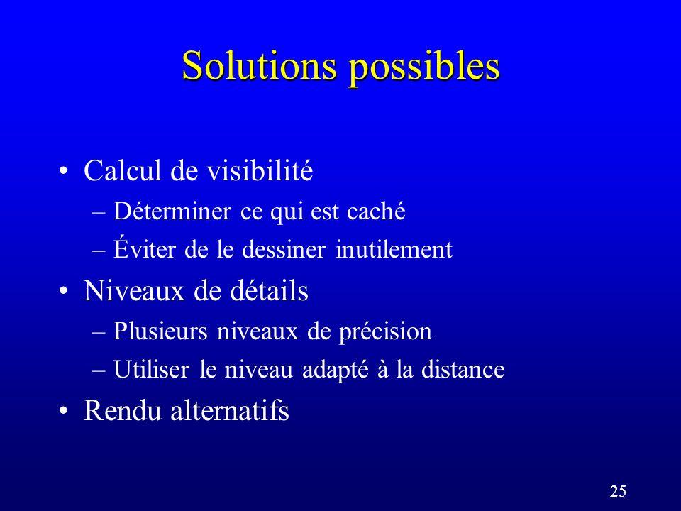 25 Solutions possibles Calcul de visibilité –Déterminer ce qui est caché –Éviter de le dessiner inutilement Niveaux de détails –Plusieurs niveaux de précision –Utiliser le niveau adapté à la distance Rendu alternatifs