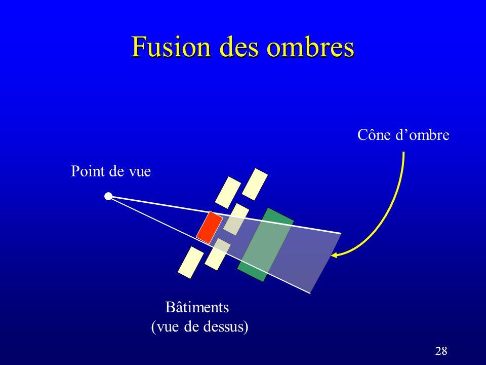 28 Fusion des ombres Point de vue Cône dombre Bâtiments (vue de dessus)
