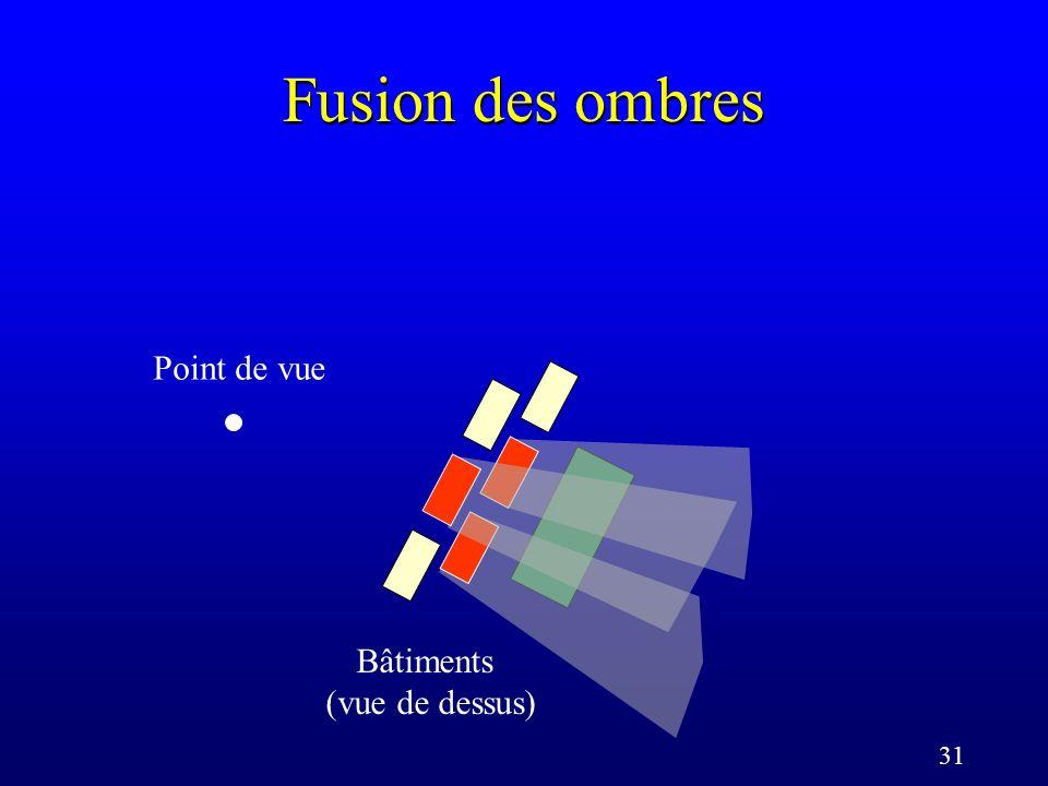 31 Fusion des ombres Bâtiments (vue de dessus) Point de vue