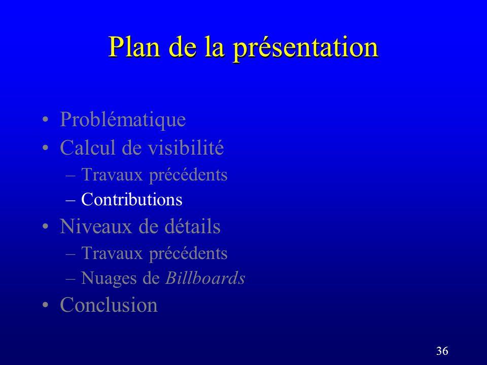 36 Plan de la présentation Problématique Calcul de visibilité –Travaux précédents –Contributions Niveaux de détails –Travaux précédents –Nuages de Billboards Conclusion