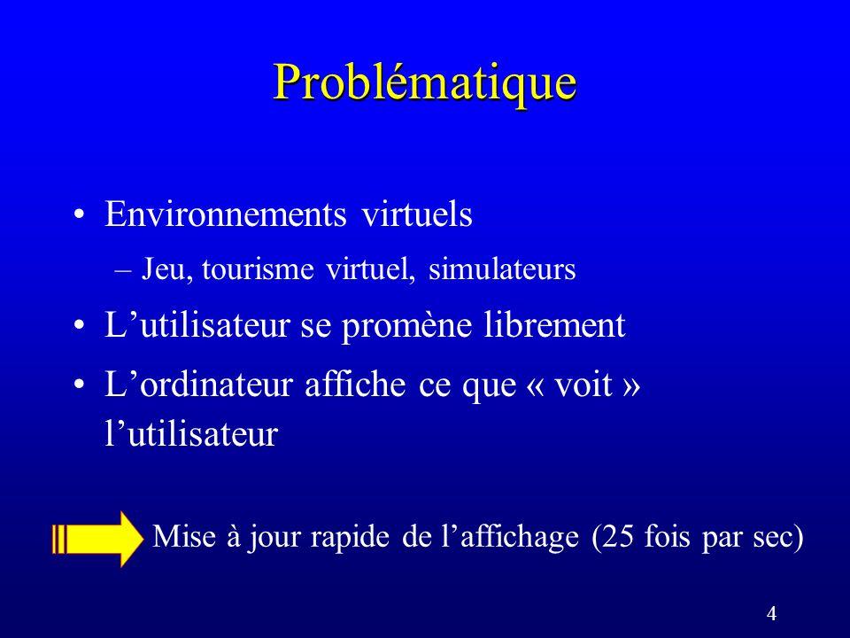 4 Problématique Environnements virtuels –Jeu, tourisme virtuel, simulateurs Lutilisateur se promène librement Lordinateur affiche ce que « voit » lutilisateur Mise à jour rapide de laffichage (25 fois par sec)