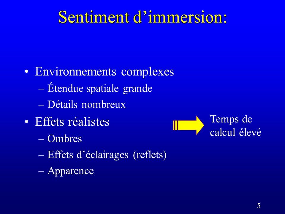 5 Sentiment dimmersion: Environnements complexes –Étendue spatiale grande –Détails nombreux Effets réalistes –Ombres –Effets déclairages (reflets) –Apparence Temps de calcul élevé