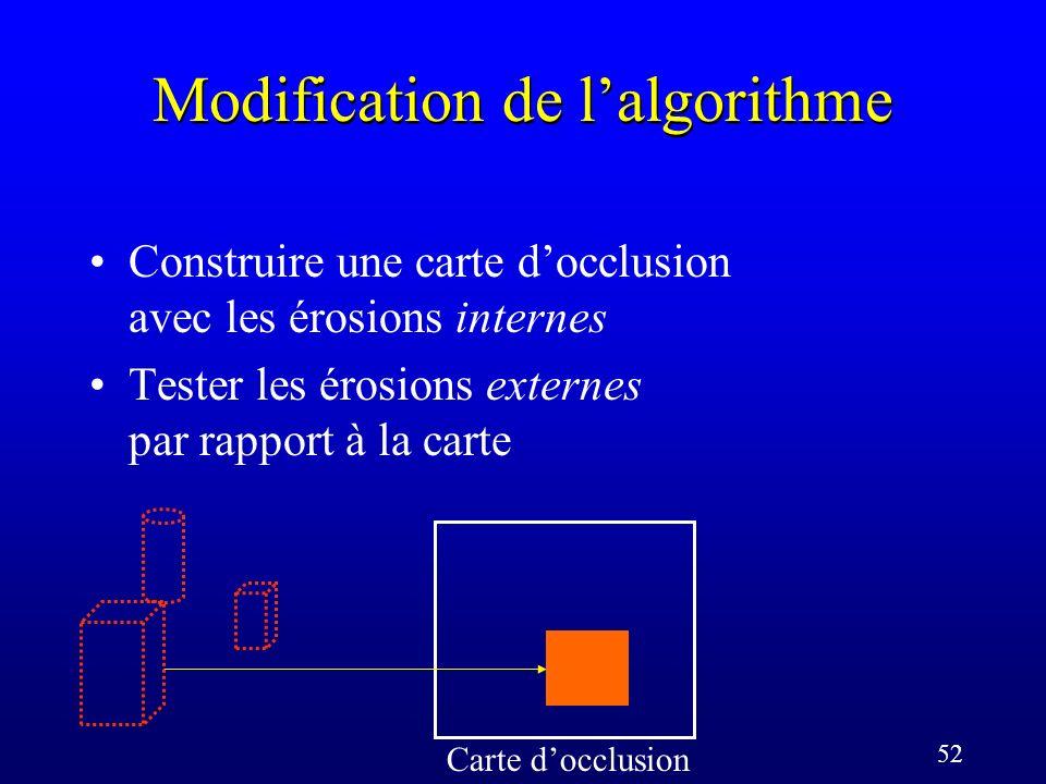 52 Modification de lalgorithme Carte docclusion Construire une carte docclusion avec les érosions internes Tester les érosions externes par rapport à la carte
