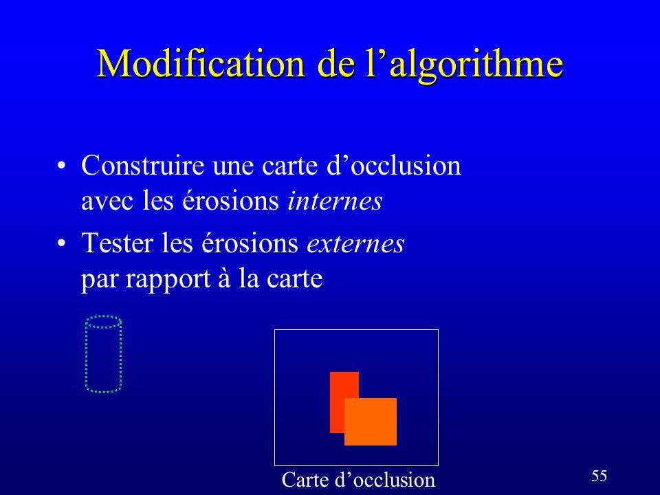 55 Modification de lalgorithme Carte docclusion Construire une carte docclusion avec les érosions internes Tester les érosions externes par rapport à la carte
