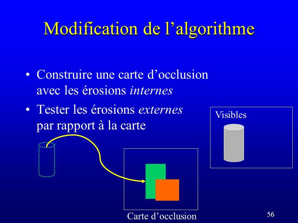 56 Modification de lalgorithme Carte docclusion Visibles Construire une carte docclusion avec les érosions internes Tester les érosions externes par rapport à la carte