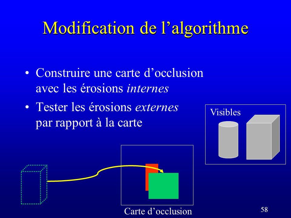 58 Modification de lalgorithme Carte docclusion Visibles Construire une carte docclusion avec les érosions internes Tester les érosions externes par rapport à la carte