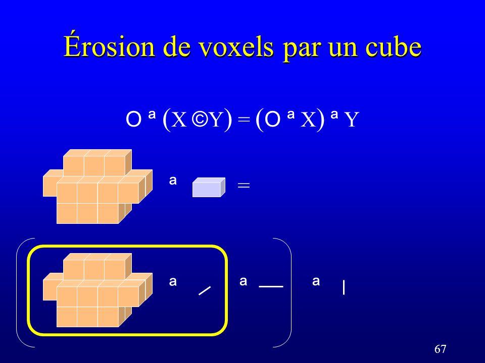67 Érosion de voxels par un cube O ª ( X © Y ) = ( O ª X ) ª Y = ª ª ª ª