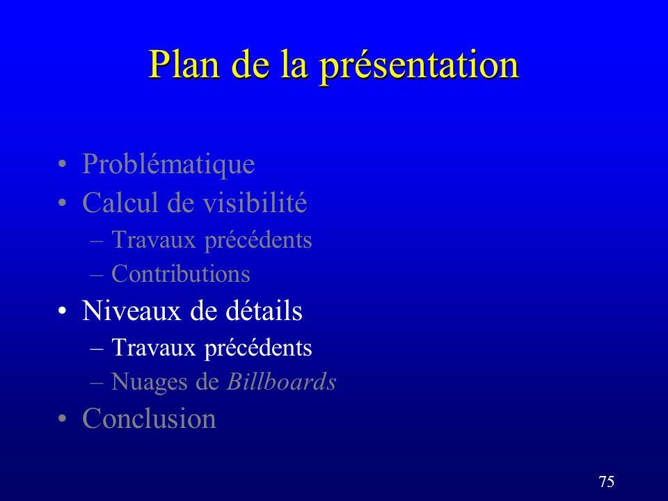 75 Plan de la présentation Problématique Calcul de visibilité –Travaux précédents –Contributions Niveaux de détails –Travaux précédents –Nuages de Billboards Conclusion
