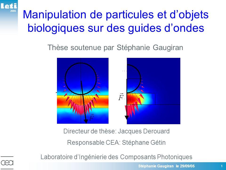 2005 Stéphanie Gaugiran le 29/09/05 12 Objectifs OBJECTIFS: Optimiser les systèmes existants Evaluer les potentialités dans le domaine de la biologie Etudier la propulsion des particules métalliques par une onde évanescente Evaluer les POTENTIALITES de ces dispositifs pour la NANOFABRICATION et les LABORATOIRES sur puce ETAT DE LART: Puissance laser plusieurs centaines de mW Efficacité de propulsion limitée Pas de démonstration en biologie