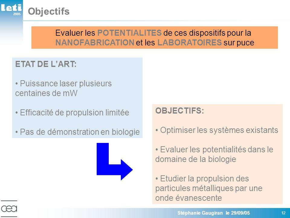 2005 Stéphanie Gaugiran le 29/09/05 12 Objectifs OBJECTIFS: Optimiser les systèmes existants Evaluer les potentialités dans le domaine de la biologie