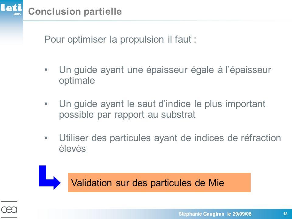 2005 Stéphanie Gaugiran le 29/09/05 18 Conclusion partielle Pour optimiser la propulsion il faut : Un guide ayant une épaisseur égale à lépaisseur opt