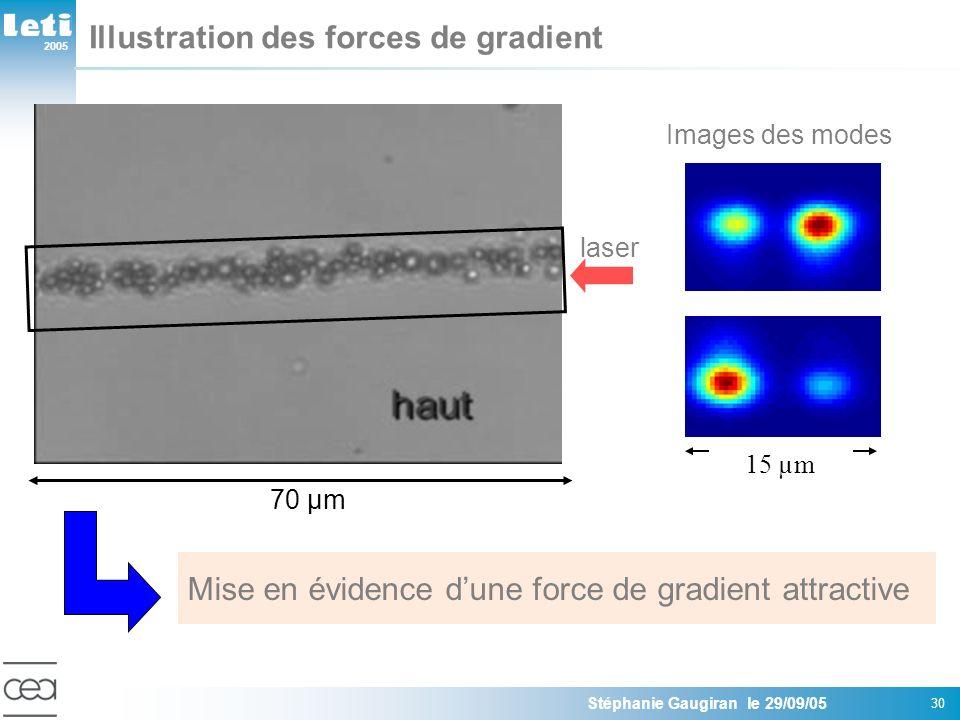 2005 Stéphanie Gaugiran le 29/09/05 30 billes VERRE N=1.55 R= 1µm Guide donde potassium: n=0.01 Puissance guidée: 400mW Mise en évidence dune force de gradient attractive Illustration des forces de gradient 70 µm laser 15 µm Images des modes