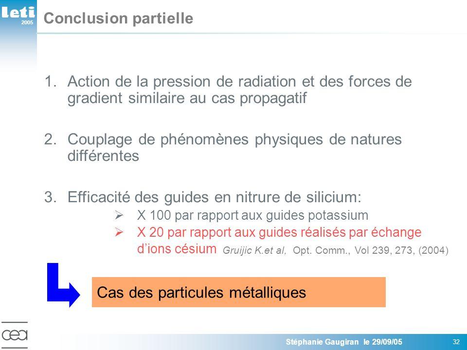 2005 Stéphanie Gaugiran le 29/09/05 32 Conclusion partielle 1.Action de la pression de radiation et des forces de gradient similaire au cas propagatif 2.Couplage de phénomènes physiques de natures différentes 3.Efficacité des guides en nitrure de silicium: X 100 par rapport aux guides potassium X 20 par rapport aux guides réalisés par échange dions césium Gruijic K.et al, Opt.