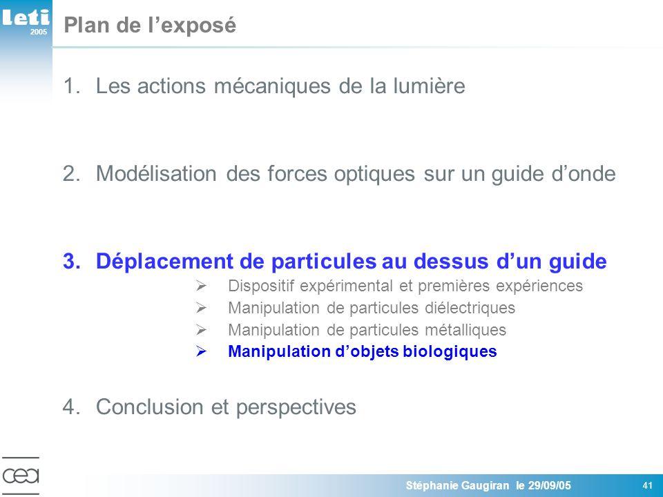 2005 Stéphanie Gaugiran le 29/09/05 41 Plan de lexposé 1.Les actions mécaniques de la lumière 2.Modélisation des forces optiques sur un guide donde 3.