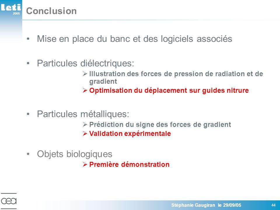 2005 Stéphanie Gaugiran le 29/09/05 44 Conclusion Mise en place du banc et des logiciels associés Particules diélectriques: Illustration des forces de