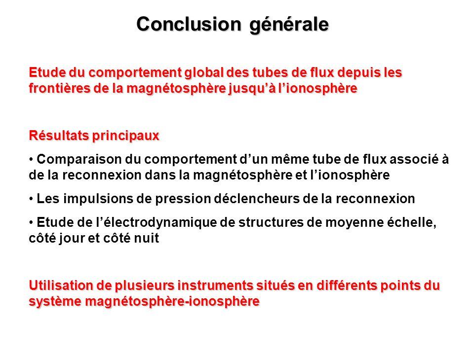 Conclusion générale Etude du comportement global des tubes de flux depuis les frontières de la magnétosphère jusquà lionosphère Résultats principaux C