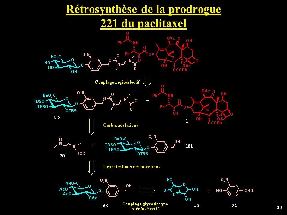 20 Rétrosynthèse de la prodrogue 221 du paclitaxel