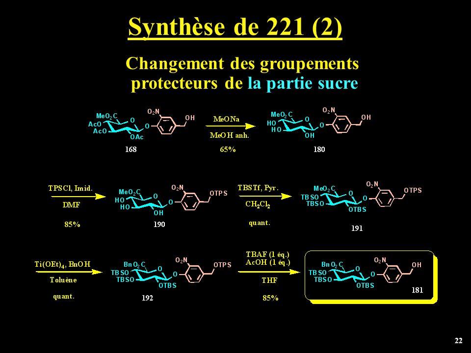 22 Synthèse de 221 (2) Changement des groupements protecteurs de la partie sucre
