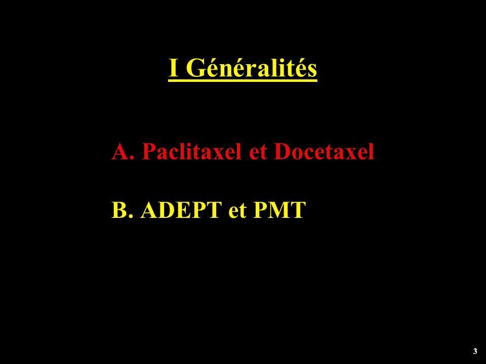 3 I Généralités A. Paclitaxel et Docetaxel B. ADEPT et PMT