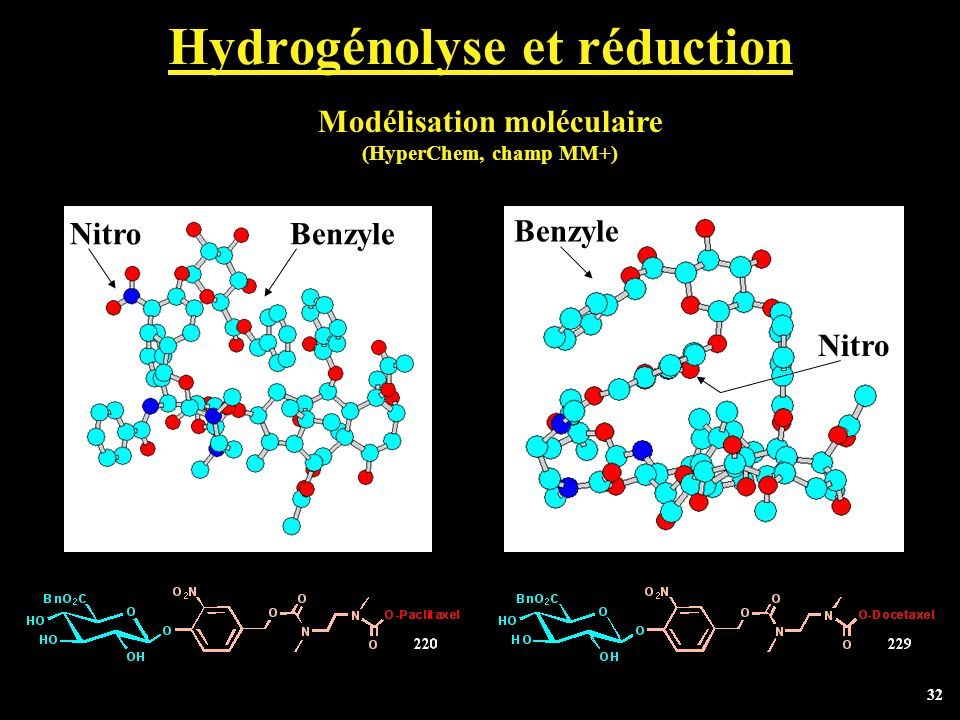 32 Hydrogénolyse et réduction NitroBenzyle Nitro Modélisation moléculaire (HyperChem, champ MM+)