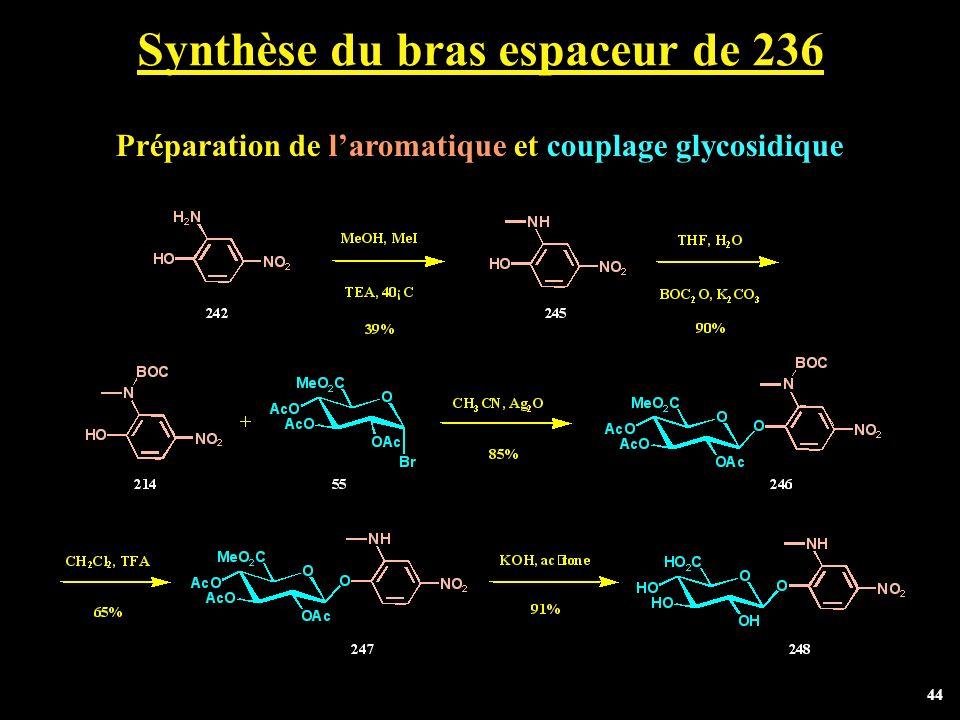 44 Synthèse du bras espaceur de 236 Préparation de laromatique et couplage glycosidique