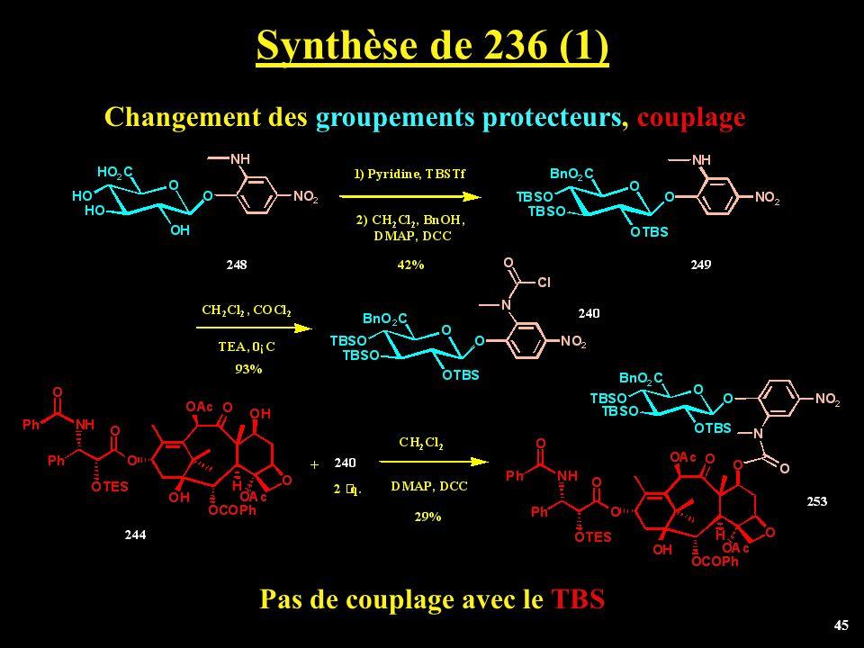 45 Synthèse de 236 (1) Changement des groupements protecteurs, couplage Pas de couplage avec le TBS