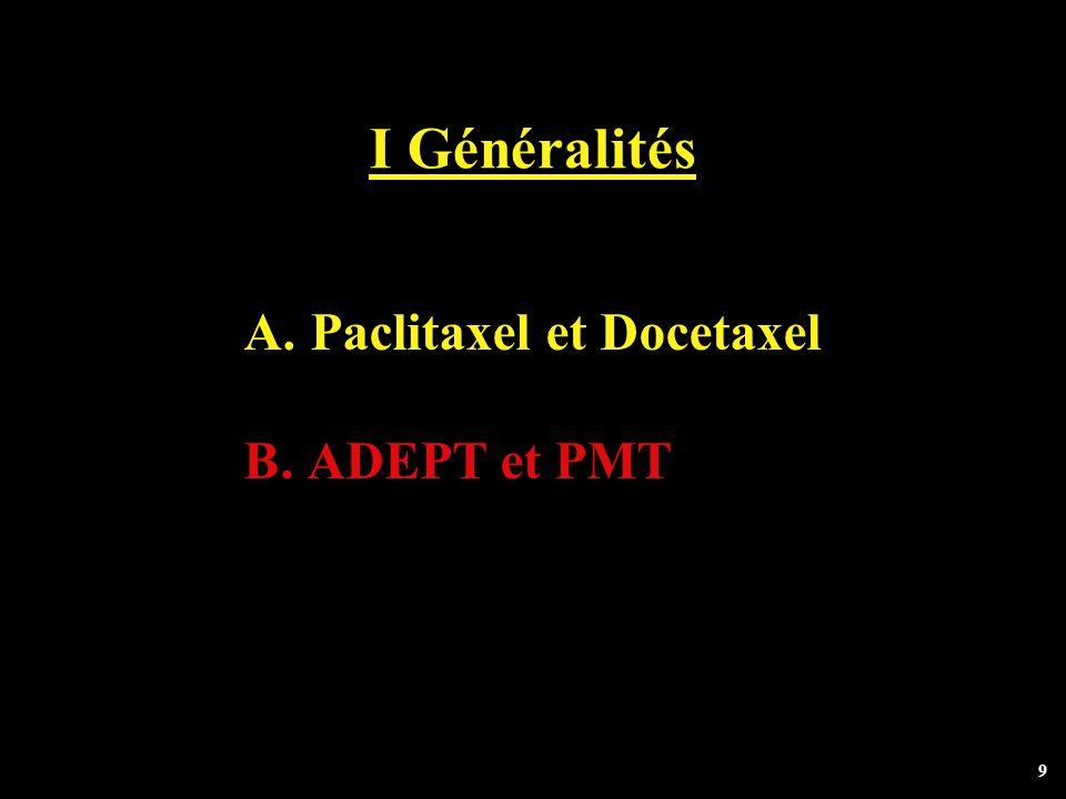 9 I Généralités A. Paclitaxel et Docetaxel B. ADEPT et PMT